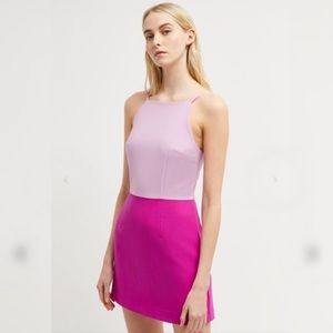 {french connection} color block fuchsia mod dress